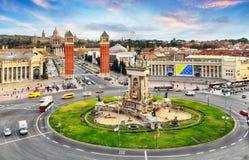 Barcelone, place d'Espana avec MNAC, Espagne Images libres de droits