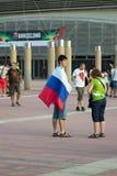 BARCELONE - 6 SEPTEMBRE : Fans de la Slovénie avant match Photo stock