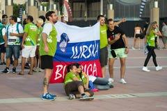 BARCELONE - 6 SEPTEMBRE : Fans de la Slovénie avant match Photographie stock libre de droits