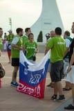 BARCELONE - 6 SEPTEMBRE : Fans de la Slovénie avant match Photos libres de droits