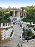 Barcelone : Stationnement Guell, beau stationnement par Gaudi Images stock