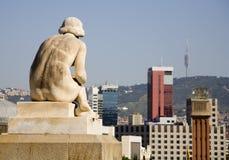 Barcelone - statue pour le palais réel Photographie stock