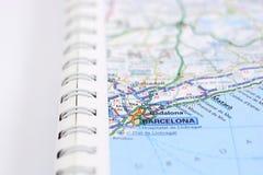 Barcelone sur la carte Photographie stock