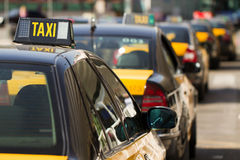 Barcelonese taxi's stock images