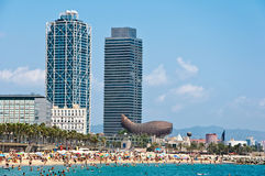 Barceloneta海滩。 免版税库存照片