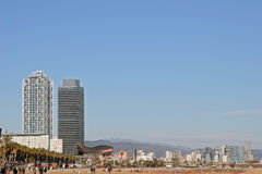 Barceloneta海滩,巴塞罗那 库存图片