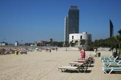 Barceloneta. The main beach of barceloneta a t barcelona in spain.july 2007 Stock Photos