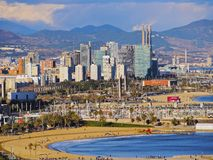 Barceloneta Beach in Barcelona. Aerial view of Barceloneta Beach and cityscape of Barcelona, Catalonia, Spain Royalty Free Stock Image
