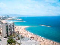 Barceloneta beach. In Barcelona, bird's-eye view. Spain Stock Photo
