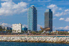 Barceloneta beach in Barcelona, Catalonia, Spain Royalty Free Stock Images