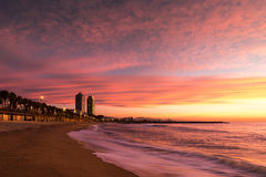 Barceloneta Beach in Barcelona. With colorful sky at sunrise Stock Photography