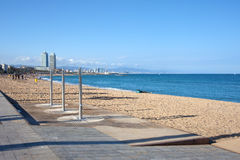 Barceloneta Beach in Barcelona Royalty Free Stock Photo