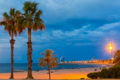 Barceloneta Beach in Barcelona at night, Spain Stock Photography