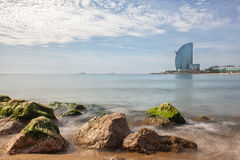 Barceloneta beach in Barcelona, Royalty Free Stock Photography