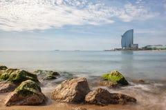 Barceloneta beach in Barcelona, Royalty Free Stock Photography