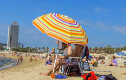 Barceloneta Beach in Barcelona, Spain Royalty Free Stock Photos