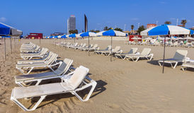 Barceloneta Beach in Barcelona, Spain Royalty Free Stock Photo