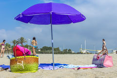 Barceloneta Beach in Barcelona, Spain Stock Image