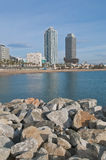 Barceloneta Beach in Barcelona, Spain Royalty Free Stock Images