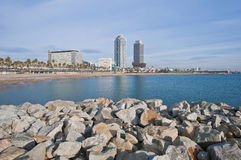 Barceloneta Beach in Barcelona, Spain Stock Photography