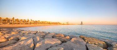 Barceloneta Beach in Barcelona at sunrise Stock Image