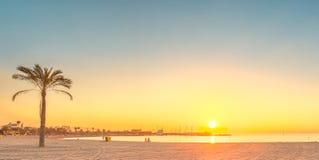 Barceloneta Beach in Barcelona at sunrise Royalty Free Stock Images