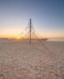 Barceloneta Beach in Barcelona at sunrise Royalty Free Stock Photography