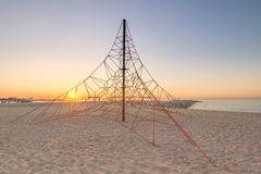 Barceloneta Beach in Barcelona at sunrise Stock Photography
