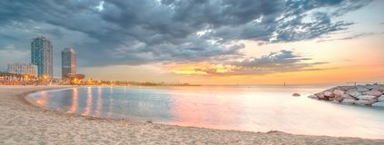 Barceloneta Beach in Barcelona at sunrise Stock Images