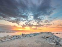 Barceloneta Beach in Barcelona at sunrise Stock Images