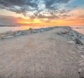 Barceloneta Beach in Barcelona at sunrise Stock Photos