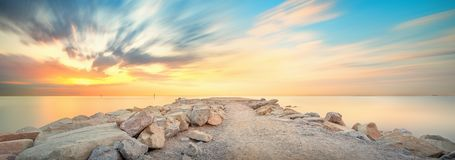 Barceloneta Beach in Barcelona at sunrise Stock Image