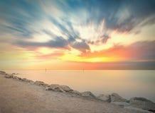Barceloneta Beach in Barcelona at sunrise Royalty Free Stock Image