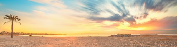 Barceloneta Beach in Barcelona at sunrise Royalty Free Stock Images