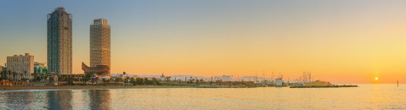 Barceloneta Beach in Barcelona at sunrise Royalty Free Stock Photos