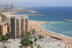 Barceloneta beach. Barcelona waterfront in the summer Royalty Free Stock Image