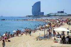 Barceloneta beach of hot summer day Royalty Free Stock Photo