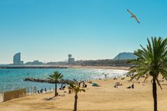 Barceloneta Beach and Hotel Vela Royalty Free Stock Images