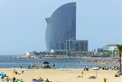 Barceloneta Beach and Hotel Vela Royalty Free Stock Photo