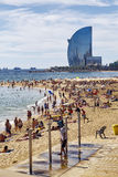 Barceloneta Beach and Hotel Vela Stock Photo