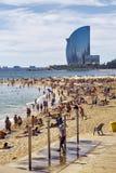 Barceloneta Beach and Hotel Vela Stock Photo