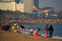 Barceloneta beach mid autumn weekend Royalty Free Stock Photo