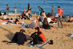 Barceloneta beach mid autumn weekend Royalty Free Stock Image