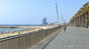 Barceloneta Beach from Promenade Stock Image