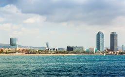Barceloneta beach from sea Royalty Free Stock Image