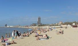 Barceloneta Beach and skyscraper Torre Mapfre Stock Photography