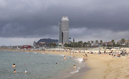 Barceloneta Beach and skyscraper Torre Mapfre Royalty Free Stock Photography
