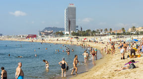 Barceloneta Beach and skyscraper Torre Mapfre Stock Images