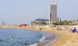 Barceloneta Beach and skyscraper Torre Mapfre Stock Image