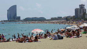 Barceloneta Beach in summer. Barcelona, Spain. stock footage